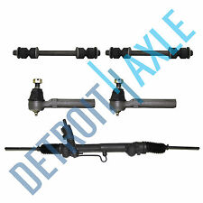 NEW 5pc Kit - Steering Rack & Pinion + 2 Outer Tie Rods + 2 Front Lower Sway Bar