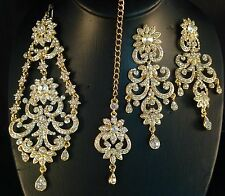 Golden Indian Fashion Bollywood Jewellery, Jhumar, Tikka & Earring Set, JS21-011