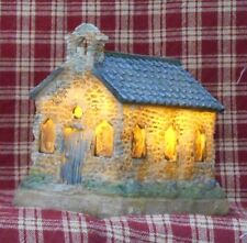 Lit Cobblestone Church, Christmas, Country, Prim, Holiday decor, decoration