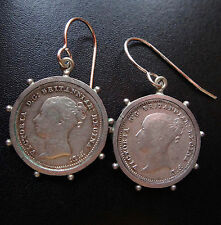 antique Victorian SILVER 1840 1855 young head coin drop pierced earrings -D343