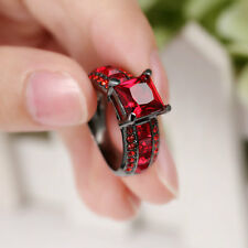 Size 7 Vintage Red Ruby Wedding Ring 10KT Black Gold Filled Engagement Party