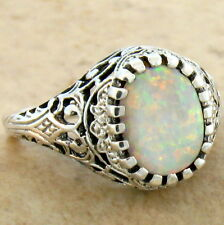 WHITE LAB OPAL ANTIQUE FILIGREE DESIGN 925 STERLING SILVER RING SIZE 10, #629