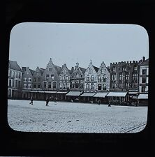 Magic Lantern Slide Photo Belgium Bruges Grand Place Markt Newton & Co