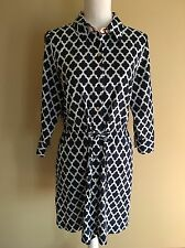 Lands End Small 6 8 Swim Suit Cover Up Dress Geometric Print Navy Blue Cruise