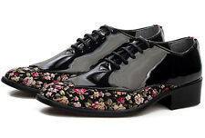 Men Oxfords Floral Lace Up Casual Formal Fashion Loafers Shoes Patent Leather YE