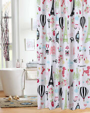 I Love Paris Fabric Shower Curtain Girl Bath Eiffel Tower Whimsical Parisian
