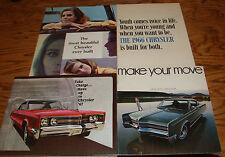 Original 1965 1966 1967 1968 Chrysler Full Line Sales Brochure Lot of 4 65 66 67