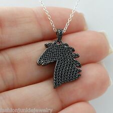 Horse Necklace - 925 Sterling Silver - Horse Pendant Charm Black Stallion CZ NEW