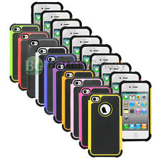 Lot of 10 Hybrid Rugged Rubber Matte Hard Case Cover for Apple iPhone 4 4G 4S