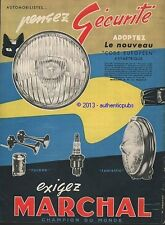 PUBLICITE MARCHAL CODE EUROPEEN BOUGIE CHAMPION DU MONDE CHAT DE 1957 FRENCH AD