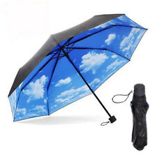 Super Anti-uv Sun Protection Umbrella Blue Sky 3 Folding Parasols Umbrellas Yun