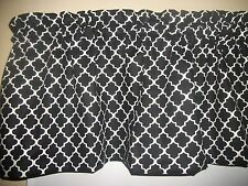 Black White Ogee cotton Fabric Curtain window topper Valance