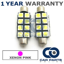 2X PINK CANBUS NUMBER PLATE INTERIOR 8 SUPER BRIGHT SMD LED BULBS 44MM 15PX2