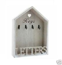 Vintage Natural Letter Rack 4 Key Holder Hooks Storage Shabby Chic Wall Mounted