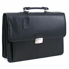 $560 KENNETH COLE MENS BLACK Gusset Leather Flapover Brief BRIEFCASE BAG WORK