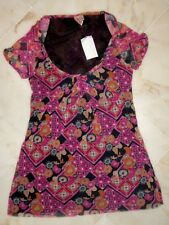 NWT Sweet Pea Stacy Frati Pink Quilt Scoopneck Top SMALL