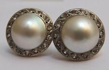 Art Deco Mabe Pearl 18 carat Gold Cluster Earrings Authentic 1920s