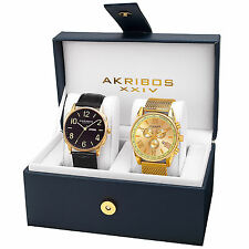 New Men's Akribos XXIV AK885YG Gold-tone Mesh Bracelet & Leather Strap Watch Set