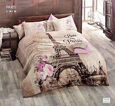 Jan Serra Bedding Paris City Queen Size 4 pcs 100% Cotton Duvet Cover Set ISS