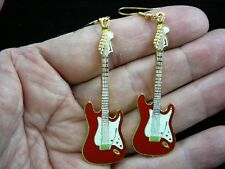 (M-221-D) Choose from 4 colors Fender STRATOCASTER Electric Guitar Earrings wire
