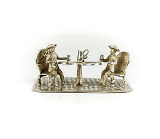 Cornelis Rietveld Dutch .835 Silver Miniature Gentleman At Table Figurine, c1900