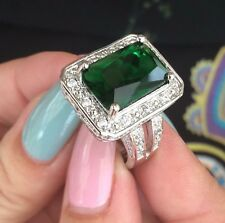 LADIES 10+ CARAT EMERALD STYLE DRESS RING SZ Q US 8 SILVER 925 CRYSTAL NEW+POUCH