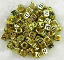 100pcs 6mm Acrylic Mixed Alphabet Letter Coin Square Flat Spacer Beads DIY Pick