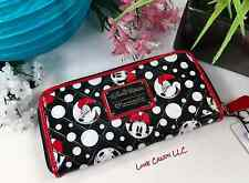 DISNEY MINNIE MOUSE FACE POLKA DOT QUILTED PATENT WALLET LOUNGEFLY NEW TAGS! ��