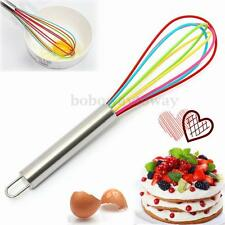 Whisk Silicone Coloured Wire Stainless steel handle Egg Beater Kitchen Tool
