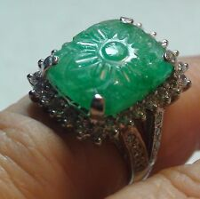 BIG! 7.35 CT NATURAL CARVED UNHEATED EMERALD,ZIRCON RING 925 S.SILVER.SIZE 6.5