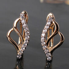 18ct gold Platinum filled crystal simulated diamond hoop earrings White Sapphire