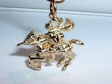 14k YELLOW GOLD 3D MEDIEVAL KNIGHT ON HORSE PENDANT CHARM