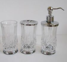 HOTEL BALFOUR 3 PC SET CLEAR CRYSTAL DIAMOND GLASS  SOAP DISPENSER+TUMBLER+TOOTH