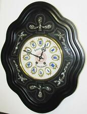 Antique ca. 1880 French Wall Clock Porcelain Face w/Enameled Numerals, Gauthier