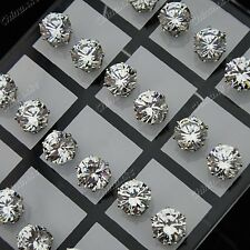 Wholesale Jewelry 24pcs 8mm Cubic Zirconia Stainless Steel Womens Stud Earrings