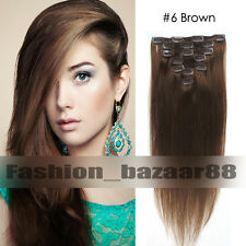 15inch Women's Clip in Remy Human Hair Extensions Straight 7Pcs/Set 70g #6 Brown