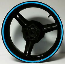 BLUE REFLECTIVE MOTORCYCLE WHEEL STRIPES RIM STICKERS TAPE DECALS VINYL GRAPHICS