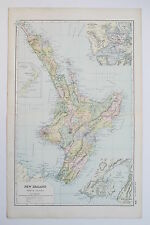 1898 NEW ZEALAND NORTH ISLAND AUCKLAND WELLINGTON Antique Map Bacon