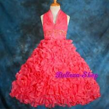 Watermelon Pink Flower Girl Halter Wedding Pageant Formal dress Sz 8-10 FG148 DP
