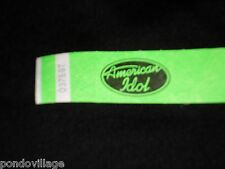 AMERICAN IDOL Official Credential GREEN tyvek Wristband. NEW, Never Worn!