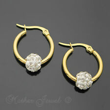 14K YELLOW GOLD IP 20MM ROUND CIRCLE HOOP HOOPS CLEAR CRYSTAL BALL EARRINGS
