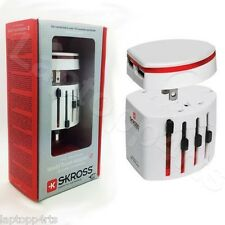 100% Genuine Skross Swiss Universal World Travel Adapter 2 & USB Charger White