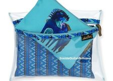 Laurel Burch Indigo Horses Teal Mares 3pc Organizer Makeup Bags Clear Canvas New
