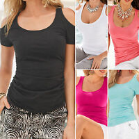 Women Casual Summer Sexy Short Sleeve T-Shirts Off-Shoulder Blouse Tee Top S-5XL