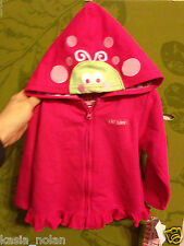 New Carter's Watch The Wear Girl's 12 Months Pink  Hoodie Jacket Ladybug Alien