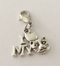 "LOVELY ""I LOVE MY CAT""  CLIP ON CHARM FOR BRACELETS-TIBETIAN SILVER - NEW"