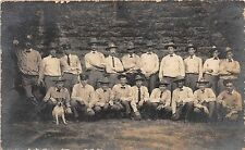 A62/ Occupational Real Photo RPPC Postcard Workers Cowboy Hats Fireman? Dog 4