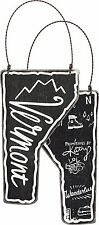 Vermont State Shape Ornament  Primitives by Kathy Black Chalkboard Look Wood