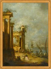 Roman Ruins Near the Lagoon Francesco Guardi Ruine Rom Italien Schiff B A2 01799
