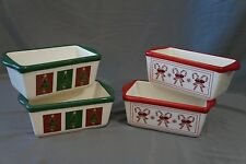 Set of 4 Ceramic Christmas Holiday Mini Loaf Bread Pans Bake Stone Ware Candy